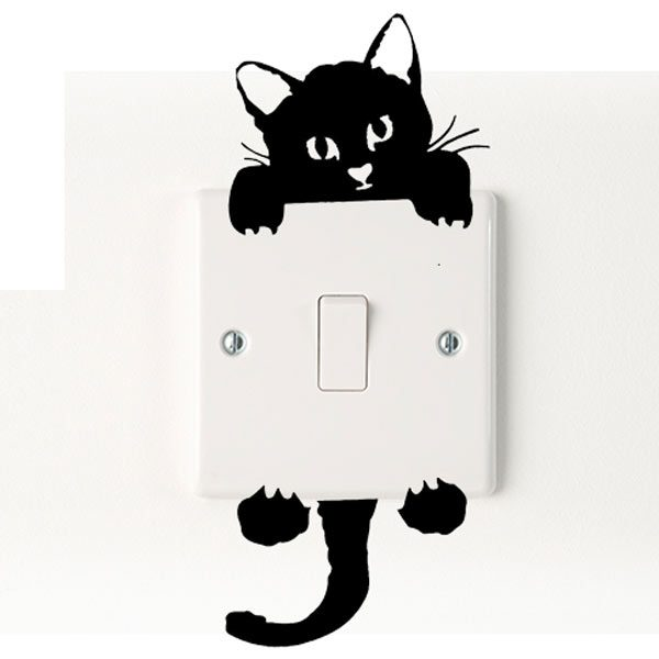 cat light switch vinyl decal