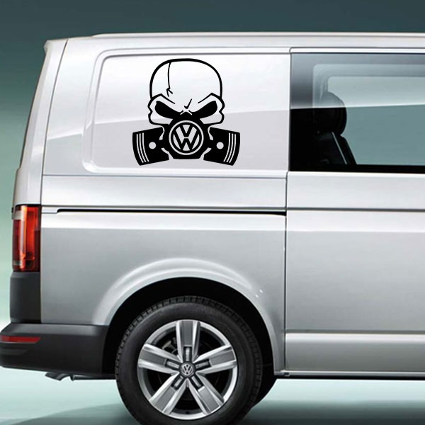 VW Skull Piston Vinyl Decal